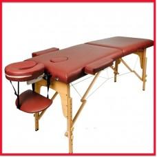 Массажный стол Atlas Sport складной 2-с 60 см деревянный + сумка в подарок (бургунди)