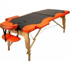 Массажный стол Atlas Sport складной 2-с 60 см деревянный + сумка в подарок (черно-оранжевый)