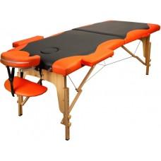 Массажный стол Atlas Sport складной 2-с деревянный 70 см (черно-оранжевый)